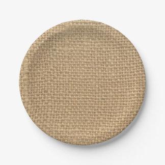 Custom Rustic Burlap Party Paper Plates 7 Inch Paper Plate