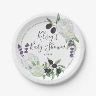 Custom Rustic Floral Baby Shower Romantic Gardenia Paper Plate