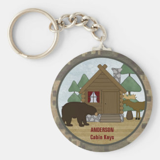Custom Rustic Lodge Cabin Keys with Bear and Moose Basic Round Button Key Ring