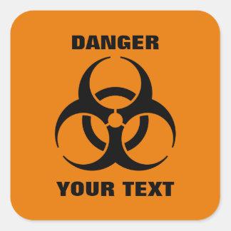 Custom Safety Orange Biohazard Symbol Warning Sign Square Sticker