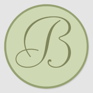 Custom Sage Green Monogrammed Envelope Seals Round Sticker
