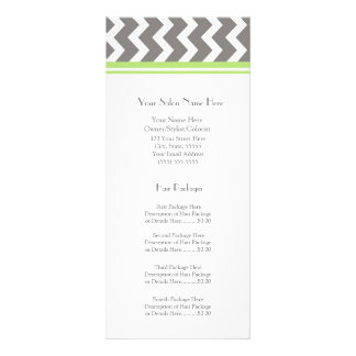 Custom Salon Rack Cards Lime Grey Chevron