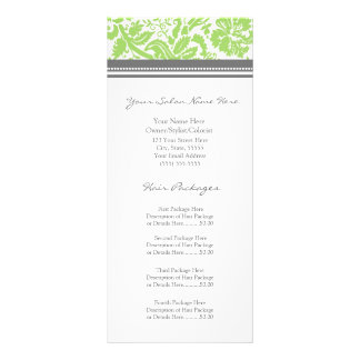 Custom Salon Rack Cards Lime Grey Damask