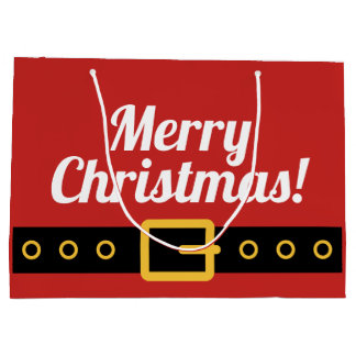 Custom Santa Claus belt Merry Christmas gift bags