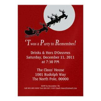 Custom Santa Sleigh Christmas Party Invite