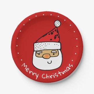Custom Santa Whimsical Trendy Christmas Holiday Paper Plate