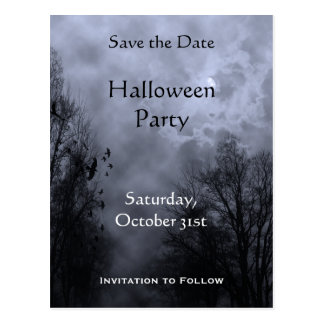 Custom Save the Date Haunted Blue Sky Postcard