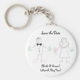 Custom Save the Date Keychain- Cartoon Couple Key Ring