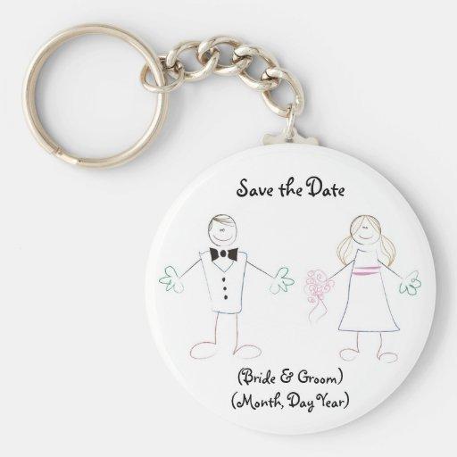 Custom Save the Date Keychain- Cartoon Couple