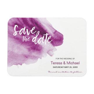 Custom Save the date Watercolor splash Purple Magnet