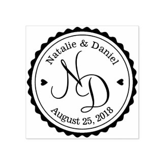 Custom Save the Date Wedding Rubber Stamp round