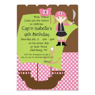 Custom Savvy Pirate Girl Birthday Party Card