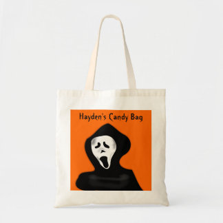 Custom Scary Face Screaming Ghost Halloween Budget Tote Bag