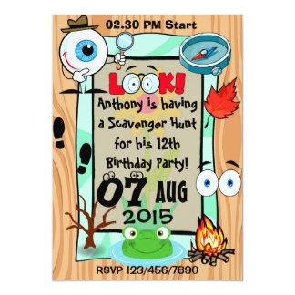 Custom Scavenger Hunt Themed Kids Party Invitation