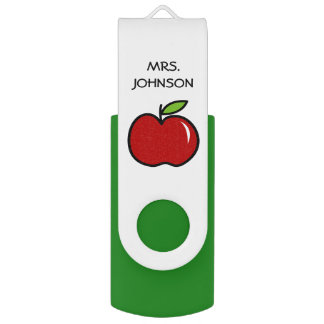 Custom school teacher red apple USB flash drive