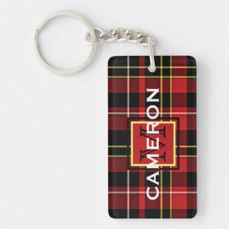 Custom Scots Red Black Yellow White Tartan Pattern Key Ring