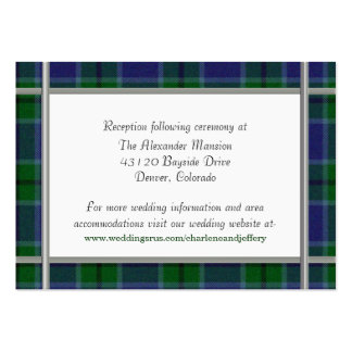 Custom Scott Plaid Wedding Enclosure Card Pack Of Chubby Business Cards