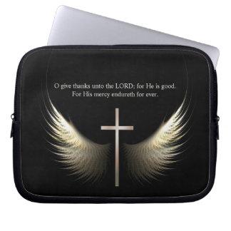 Custom Scripture Christian Cross and Holy Spirit Laptop Sleeve