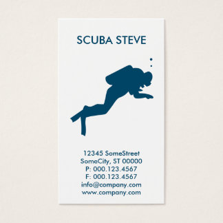 custom scuba diver business business card