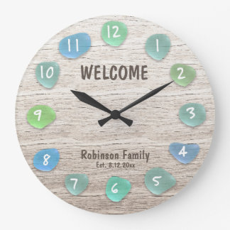 Custom Sea Glass Beach Driftwood Large Clock