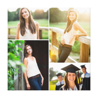 Custom Senior Graduation Photo Collage Stretched Canvas Print