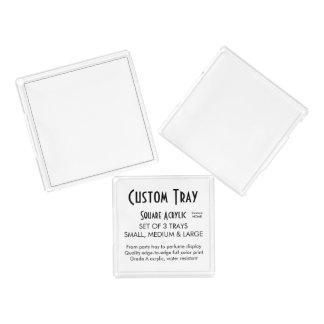 Custom Serving Tray - Acrylic Set of 3 Square