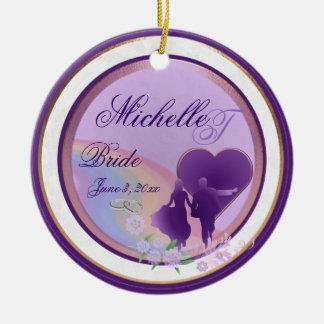 Custom Shades of Lavender Brides Keepsake Ornament