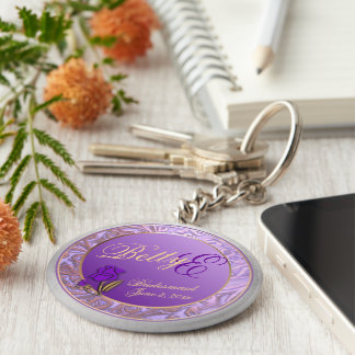 Custom Shades of Lavender Bridesmaid Keepsake Key Ring