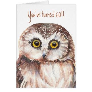 Custom Shocked Funny-Little Owl, 60th Birthday Greeting Card