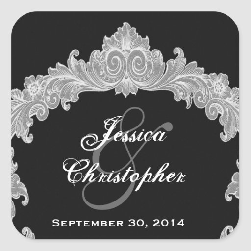 Custom Silver and Black Vintage Floral Wedding Square Stickers
