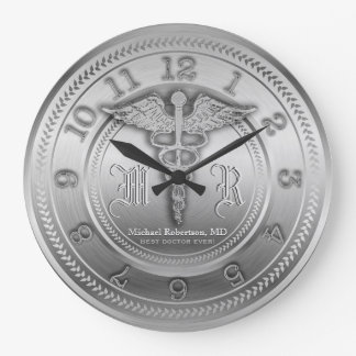 Custom Silver Doctor Medical Clinic Clock