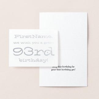 Custom Silver Foil 93rd Birthday Greeting Card