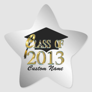 Custom Silver Gold Star Class Of 2013 Sticker