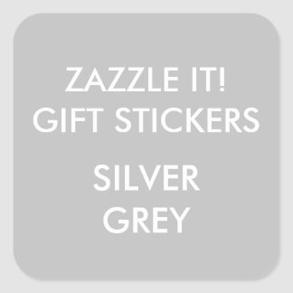 Custom SILVER GREY SQUARE Large Gift Stickers