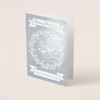 Custom Silver Wreath Mittens Christmas Card