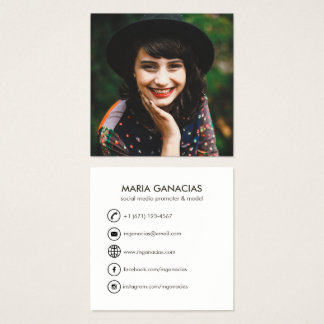Custom Simple Photo Social Media Business Card