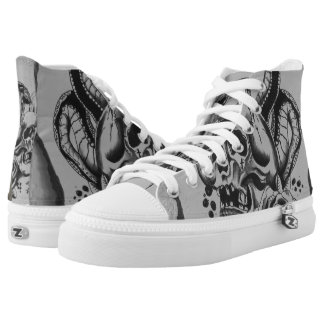 custom skull lace ups printed shoes