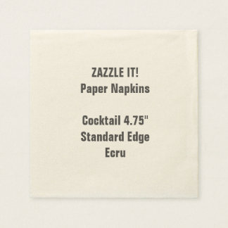 Custom Small ECRU Cocktail Paper Napkins Blank