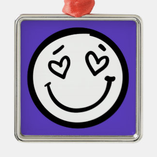 Custom Smiley Face on Purple Background Silver-Colored Square Decoration