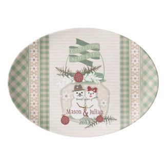 Custom Snowman Couple 1st Christmas Platter