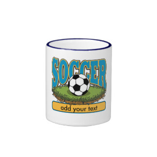 Custom Soccer Add Text Ringer Coffee Mug