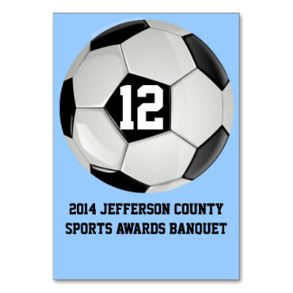 Custom Soccer Banquet Table Number Card Table Cards