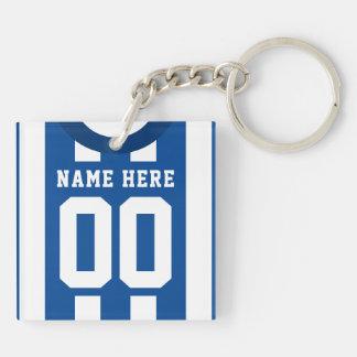 Custom Soccer Rugby Jersey Keyring, Blue Stripes Key Ring