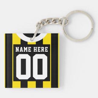 Custom Soccer Rugby Jersey Keyring, Gold Black Key Ring