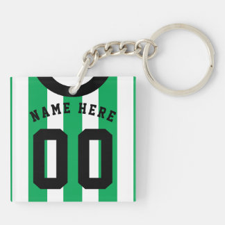 Custom Soccer Rugby Jersey Keyring, Green Stripes Key Ring