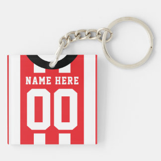 Custom Soccer Rugby Jersey Keyring, Red Stripes Key Ring
