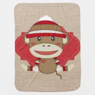 Custom Sock Monkey Baby Shower Gift Baby Blanket