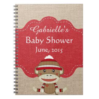 Custom Sock Monkey Baby Shower Gift Notebook