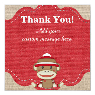Custom Sock Monkey Party Gift Thank You Card