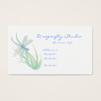 Custom Soft Watercolor Blue Green Dragonfly Business Card